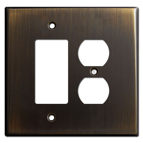 Oversized 1 Rocker 1 Outlet Switch Wall Plates - Oil Rubbed Bronze