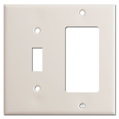 Toggle Switch GFI Decora Outlet Combo Plate Covers - Light Almond