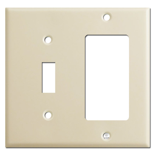 1 Toggle & GFI Decora Outlet Combo Switch Plate Covers - Ivory
