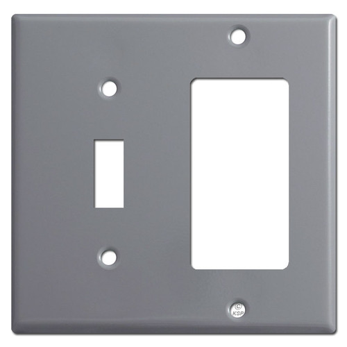 1 Toggle & 1 GFI Decora Outlet Combo Cover Plates - Gray