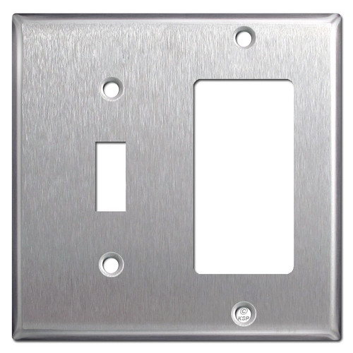 Stainless Steel Combo Wall Plate - 1 Toggle, 1 Decora Rocker
