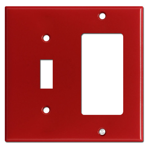 Toggle Switch & GFI Decora Rocker Combo Wall Plate Covers - Red