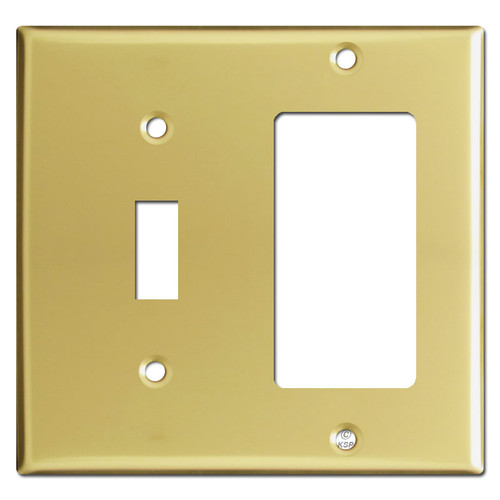Toggle Switch & GFCI Decora Outlet Combo Wallplates - Polished Brass