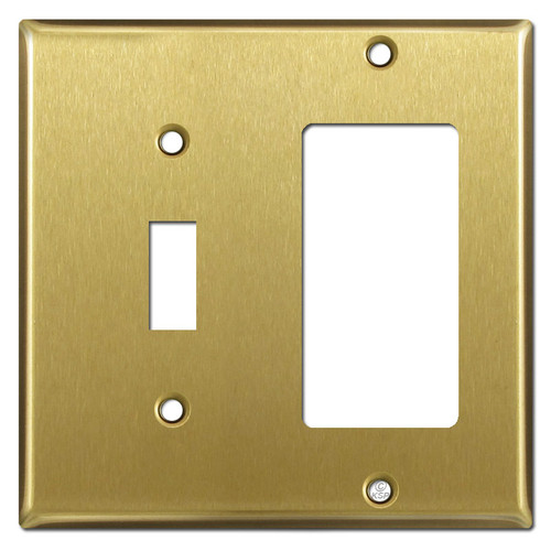 1 Toggle & 1 GFI Decora Outlet Switch Wall Plates - Satin Brass