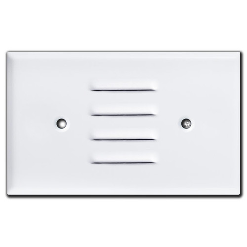 Horizontal Louver Wall Plate Cover for Light or Speaker - White
