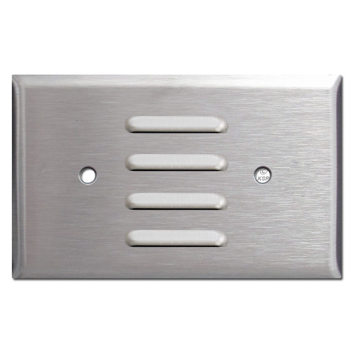 Horizontal Louver Wall Plate to Cover Light - Satin Stainless Steel