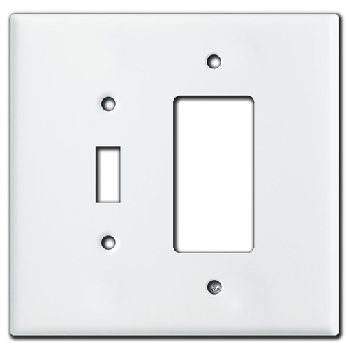 Oversized 1 Toggle & 1 GFI Outlet Combination Switch Plates - White