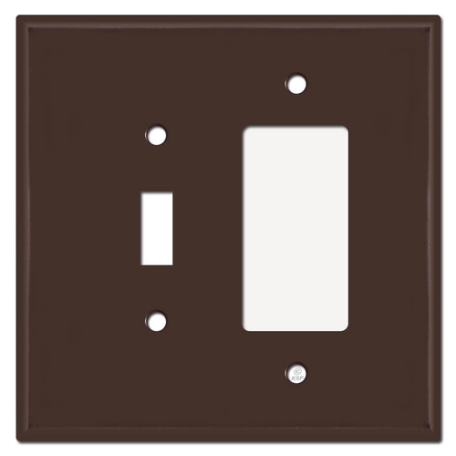 Jumbo 1 Toggle 1 GFI Decora Outlet Combination Switch Plate - Brown