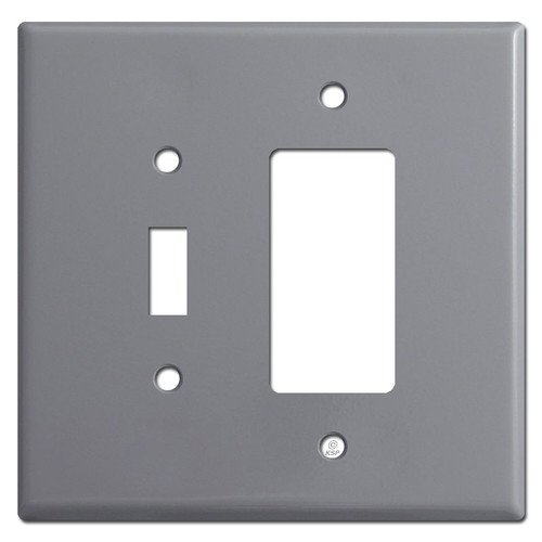 Oversized Toggle Switch & GFCI Receptacle Cover Plates - Gray