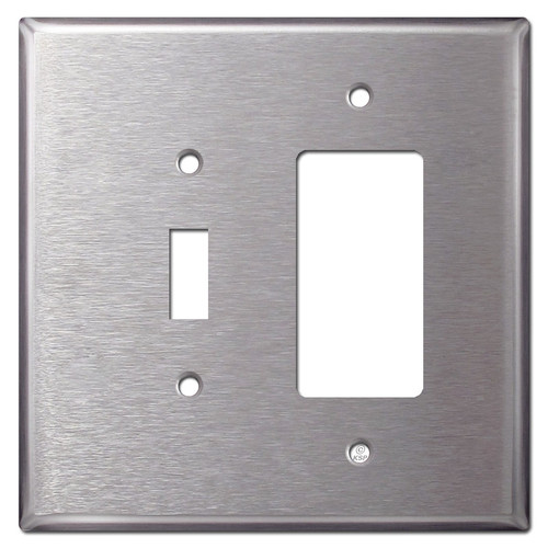 Oversized Toggle & GFI Decora Rocker Switch Plates - Stainless Steel