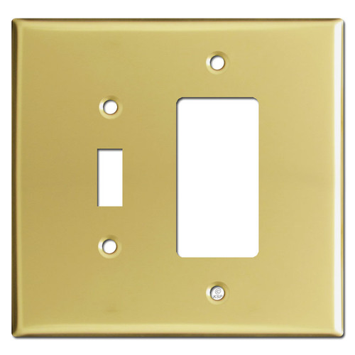Oversized 1 Toggle & 1 GFI Outlet Combo Switchplates - Polished Brass