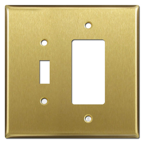 Oversized Toggle & GFI Outlet Combination Switch Plates - Satin Brass