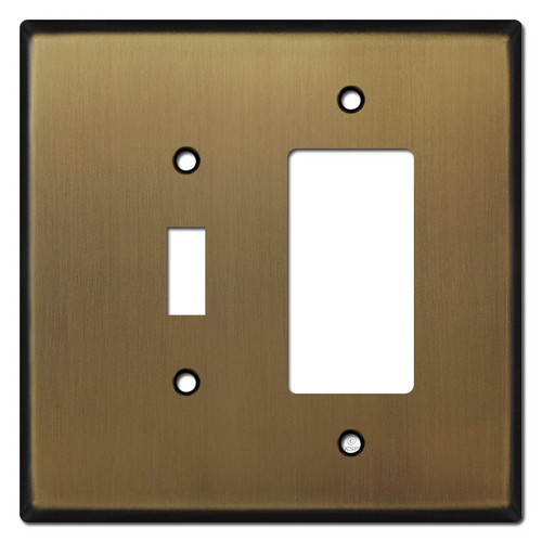 Oversized 1 Toggle & 1 GFI Outlet Combo Switch Plate - Antique Brass