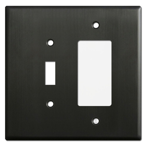 Oversized 1 Toggle 1 GFCI Receptacle Cover Plate - Dark Bronze