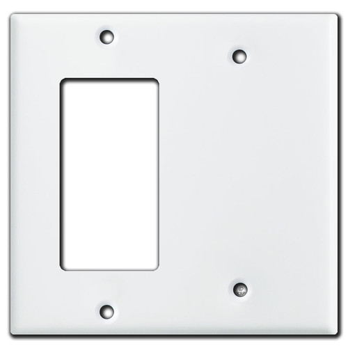 1 Decora Rocker Half 1 Blank Combo Wall Switch Plates - White