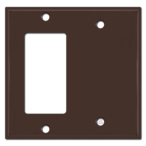 1 Decora Rocker & 1 Blank Combination Switch Plates - Brown