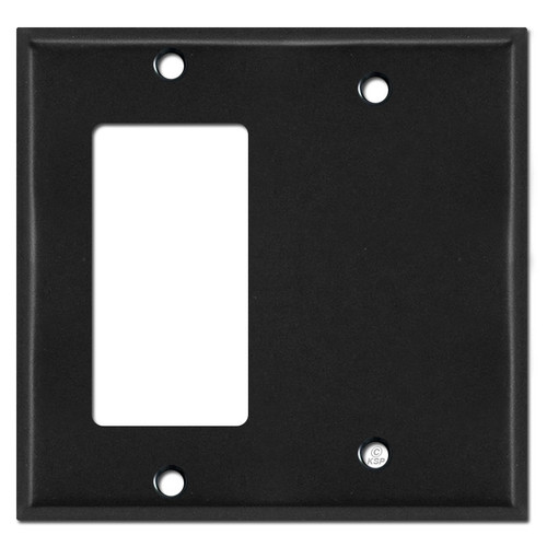 1 Decora Rocker & 1 Blank Combo Wall Switch Faceplates - Black