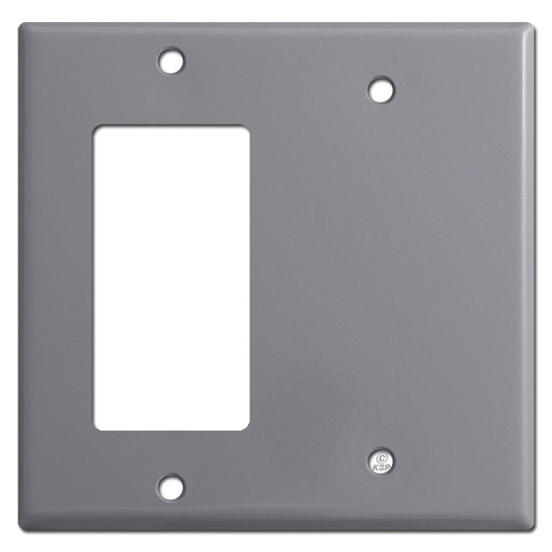 1 Decora Rocker & Half Blank Combo Wall Switch Plates - Gray