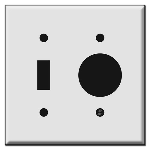 Combo Toggle and Single Round Outlet Cover Plates