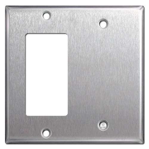 Rocker & Blank Combo Light Switch Plates - Spec Grade Stainless Steel