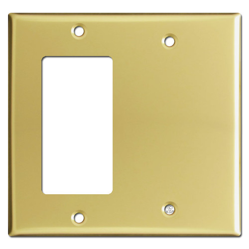 Decora GFCI Rocker & Blank Combo Switch Plates - Polished Brass
