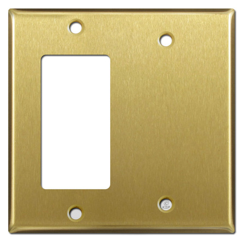 Blank & Decora Switch 2-Gang Cover Plates - Satin Brass