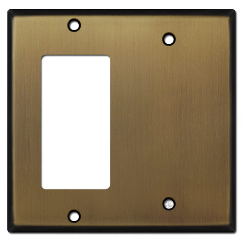 1 Decora Rocker & 1 Partial Blank Combo Wall Plates - Antique Brass