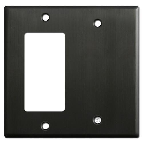1 Rocker & 1 Partial Blank Combo Light Switch Covers - Dark Bronze