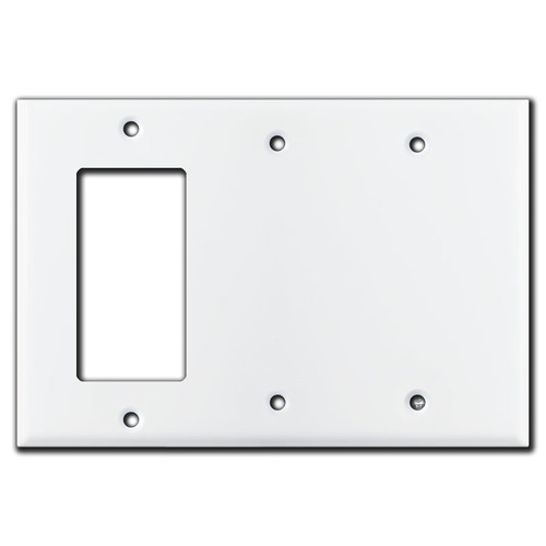1 GFCI Decora Rocker & 2 Blank Combination Switch Covers - White