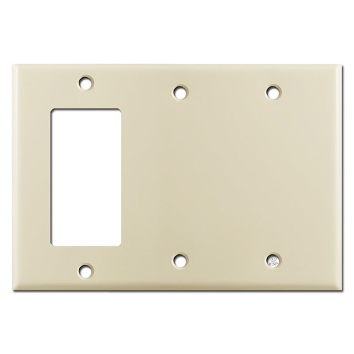 1 GFCI Decora Rocker Switch & 2 Blank 3-Gang Wall Plates - Ivory