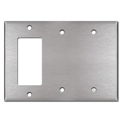 1 Decora Rocker & 2 Blank Combo Switch Plate - Satin Stainless Steel
