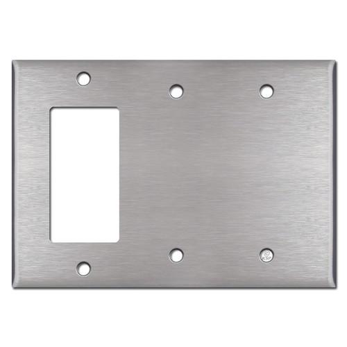 1 Decora Rocker & 2 Blank Combo Switch Plate - Satin Stainless Steel
