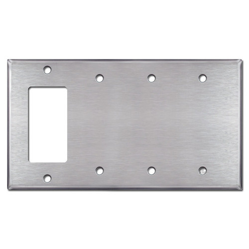 1 GFCI Decora Rocker - 3 Blank Switch Plate Covers - Stainless Steel