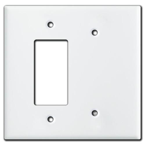 Oversized Decora Rocker & Blank Combo Switch Plates - White