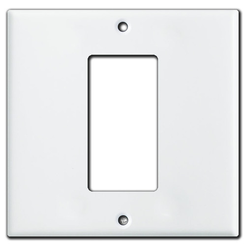 1 Decora Rocker Centered on 2 Gang Switch Plate - White