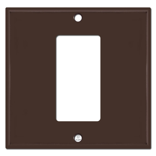 1 Decora Rocker GFCI in Middle of 2 Gang Switch Plate - Brown