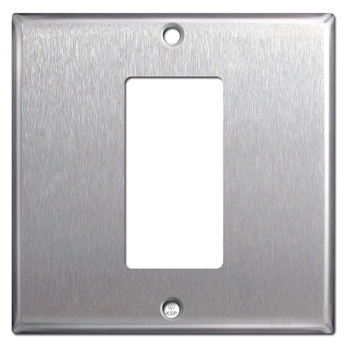 2-Gang 1 Rocker GFI Centered Switch Plate - Spec Grade Stainless Steel