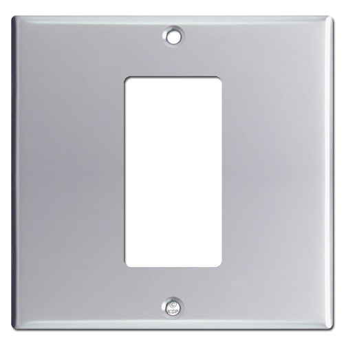 1 Decora Rocker Centered on 2 Gang Switch Plate - Polished Chrome