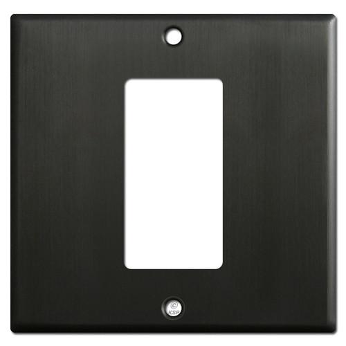 1 Rocker GFCI Device Centered on 2 Gang Switch Plate - Dark Bronze