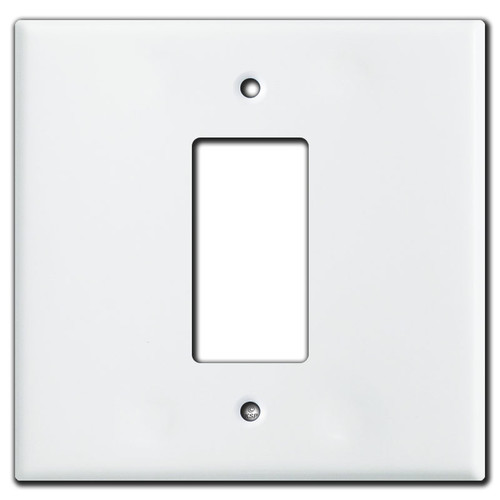 Oversized 2 Gang Centered 1 Decora Switch Wall Plate Covers - White