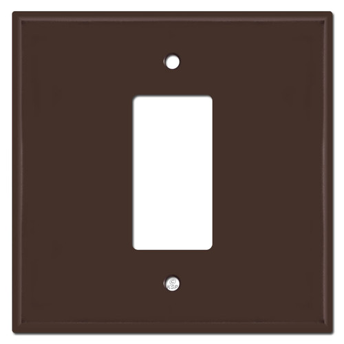 Oversized 2-Gang Centered 1 Decora Rocker Switch Cover Plates - Brown