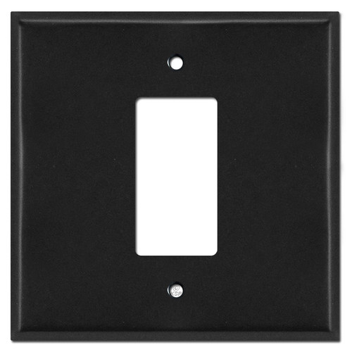 Oversized 2 Gang 1 Center Decora Light Switch Plate Covers - Black