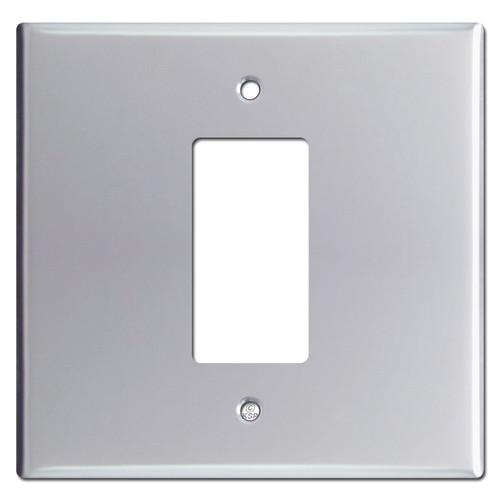 Oversized 2-Gang Middle 1 Decora GFI Switchplates  - Polished Chrome