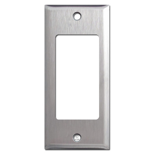 "2"" Narrow GFI Decora Rocker Switch Wall Plate - Satin Stainless Steel"