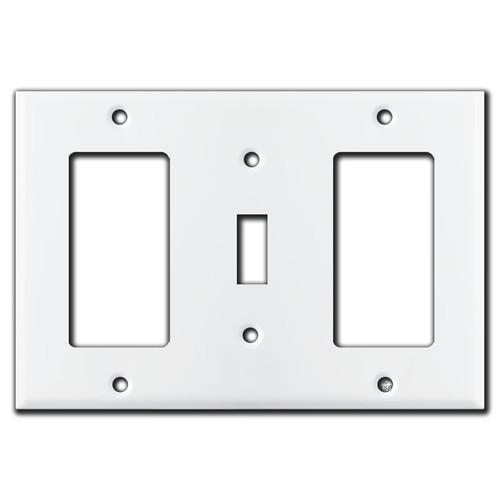 1 Decora 1 Toggle 1 Decora Combo Switch Plates - White