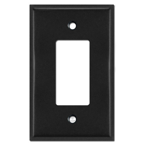 Oversized Single GFCI Decora Rocker Switch Plate Covers - Black