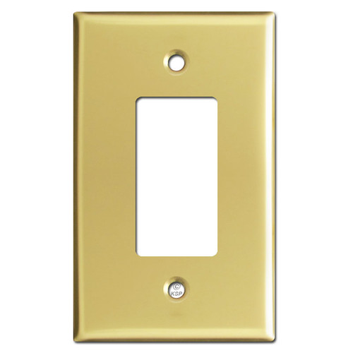 Oversized 1 GFCI Decora Rocker Switch Plates - Polished Brass