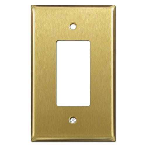 Oversized One GFCI Decora Rocker Switchplates - Satin Brass