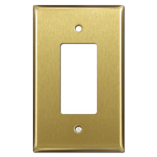 Oversized One GFCI Decora Rocker Switchplates - Satin Brass