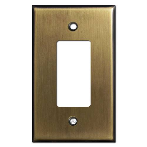 Oversized Single GFCI Decora Rocker Switch Plates - Antique Brass